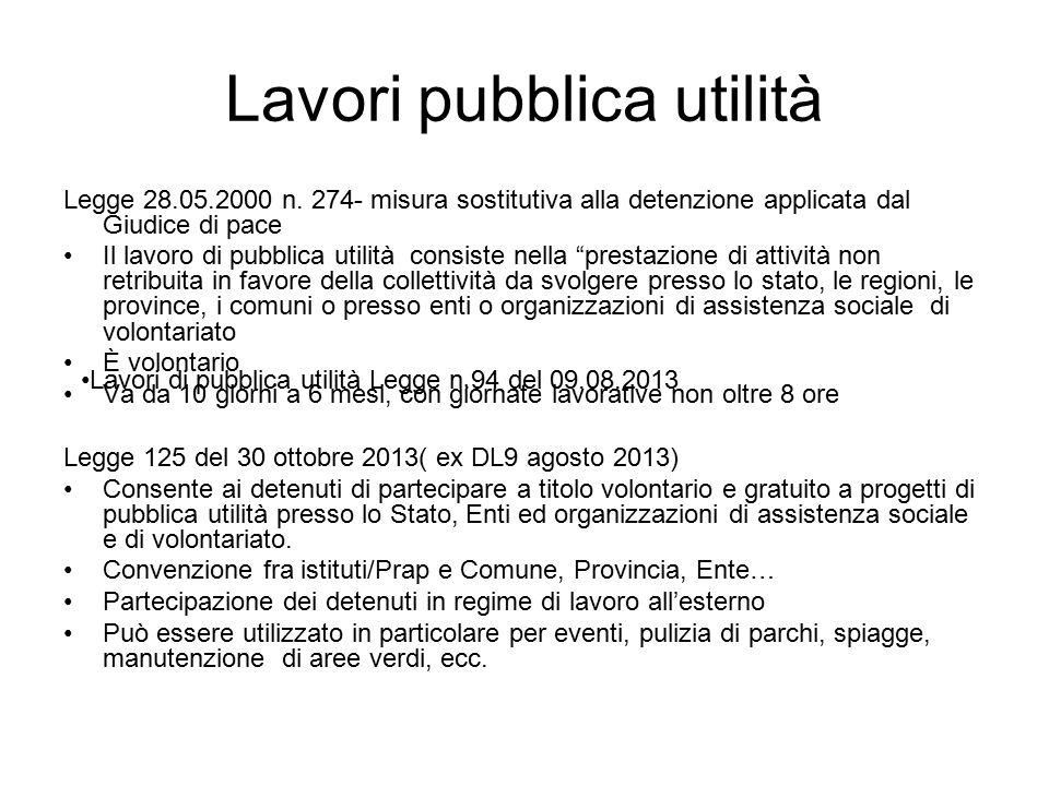 Lavori pubblica utilità Legge 28.05.2000 n.