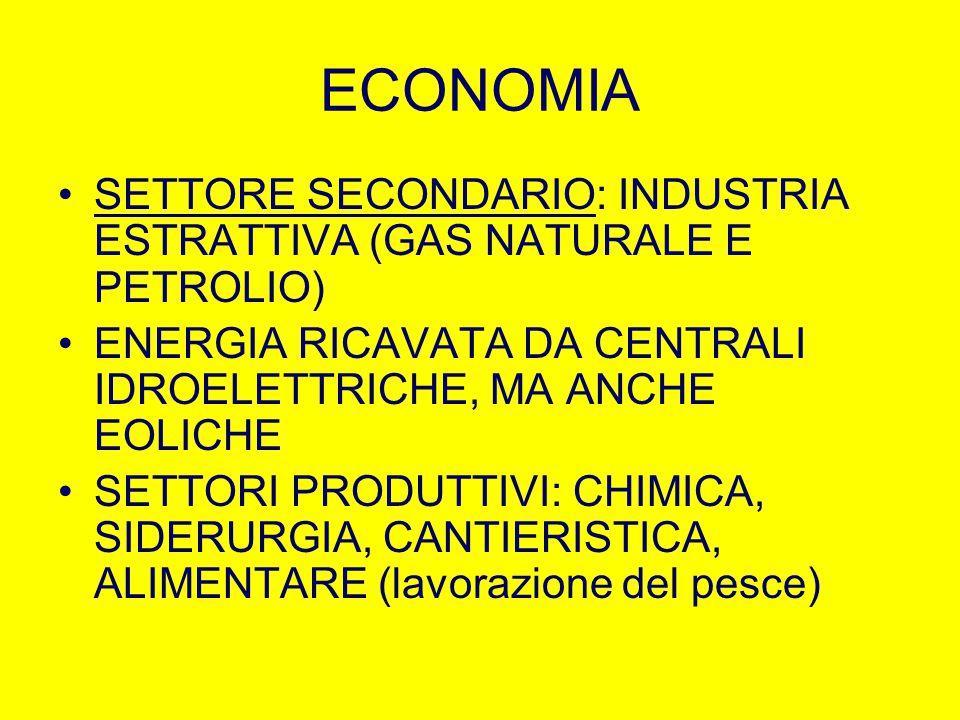 ECONOMIA SETTORE SECONDARIO: INDUSTRIA ESTRATTIVA (GAS NATURALE E PETROLIO) ENERGIA RICAVATA DA CENTRALI IDROELETTRICHE, MA ANCHE EOLICHE SETTORI PROD