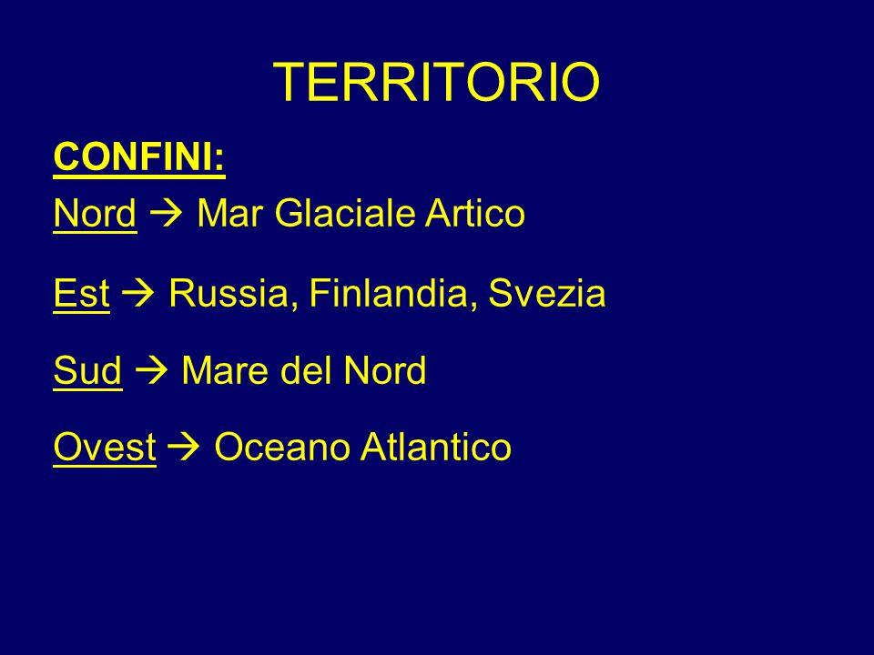TERRITORIO CONFINI: Nord  Mar Glaciale Artico Est  Russia, Finlandia, Svezia Sud  Mare del Nord Ovest  Oceano Atlantico