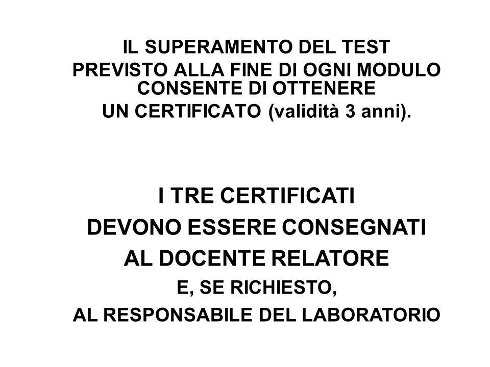 IL SUPERAMENTO DEL TEST PREVISTO ALLA FINE DI OGNI MODULO CONSENTE DI OTTENERE UN CERTIFICATO (validità 3 anni).