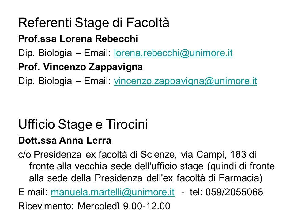 Referenti Stage di Facoltà Prof.ssa Lorena Rebecchi Dip.