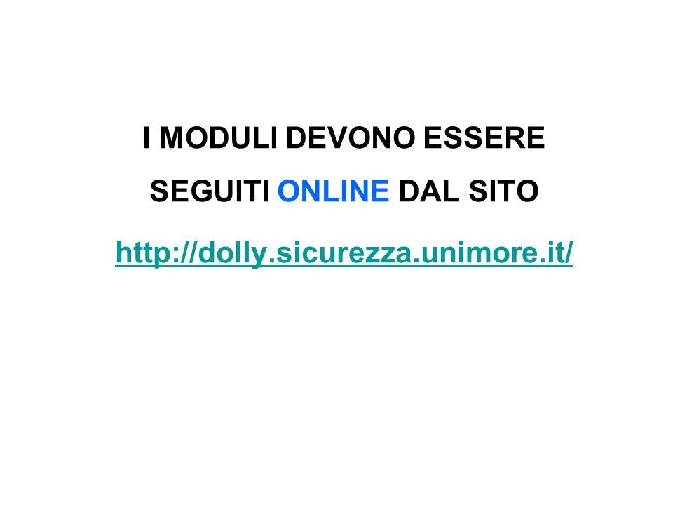 I MODULI DEVONO ESSERE SEGUITI ONLINE DAL SITO http://dolly.sicurezza.unimore.it/
