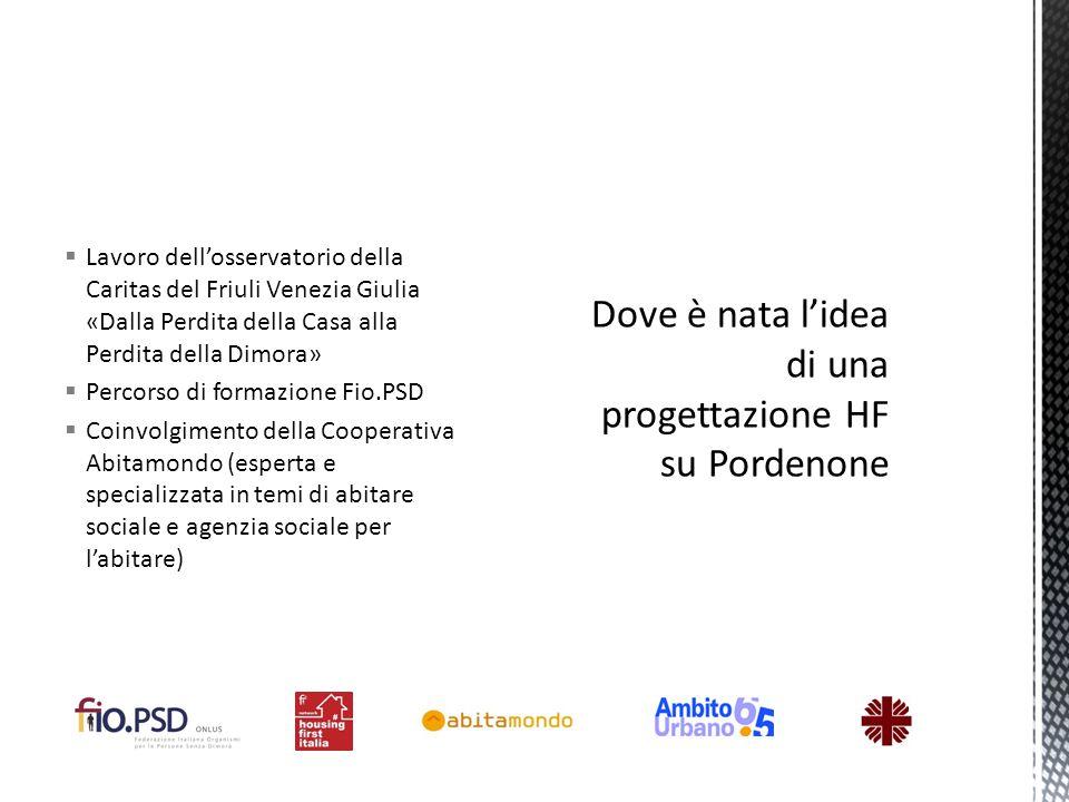  Lavoro dell'osservatorio della Caritas del Friuli Venezia Giulia «Dalla Perdita della Casa alla Perdita della Dimora»  Percorso di formazione Fio.P