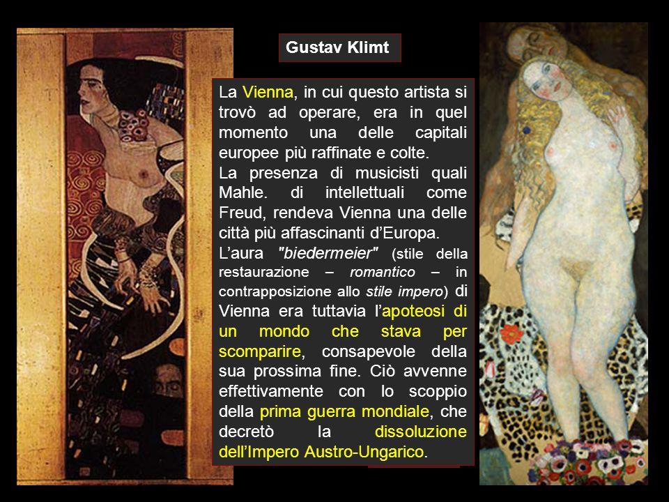 Gustav Klimt Questa coscienza della fine, tratto comune in gran parte della cultura decadentista di fine secolo, pone anche la Secessione viennese nell'alveo della pittura simbolista.