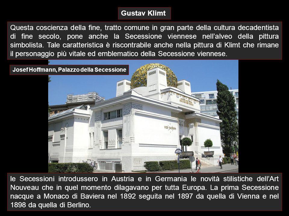 Gustav Klimt Questa coscienza della fine, tratto comune in gran parte della cultura decadentista di fine secolo, pone anche la Secessione viennese nel