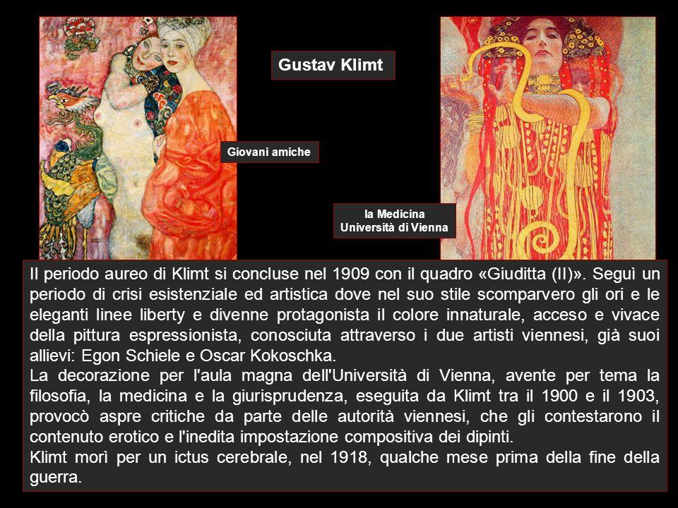 Gustav Klimt Il periodo aureo di Klimt si concluse nel 1909 con il quadro «Giuditta (II)». Seguì un periodo di crisi esistenziale ed artistica dove ne