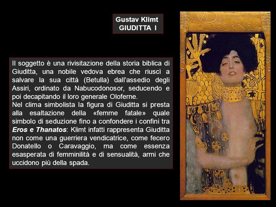 Gustav Klimt GIUDITTA I L immagine ha un taglio verticale molto accentuato con la figura di Giuditta che ha il totale controllo di tutto lo spazio fino ai bordi, così come domina ormai i resti brutali di Oloferne.