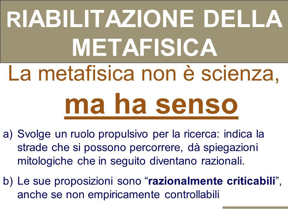 SCIENZA E METAFISICA Criterio di DEMARCAZIONE Se una teoria non può essere smentita non è scientifica. Le asserzioni della METAFISICA NON SONO SMENTIB