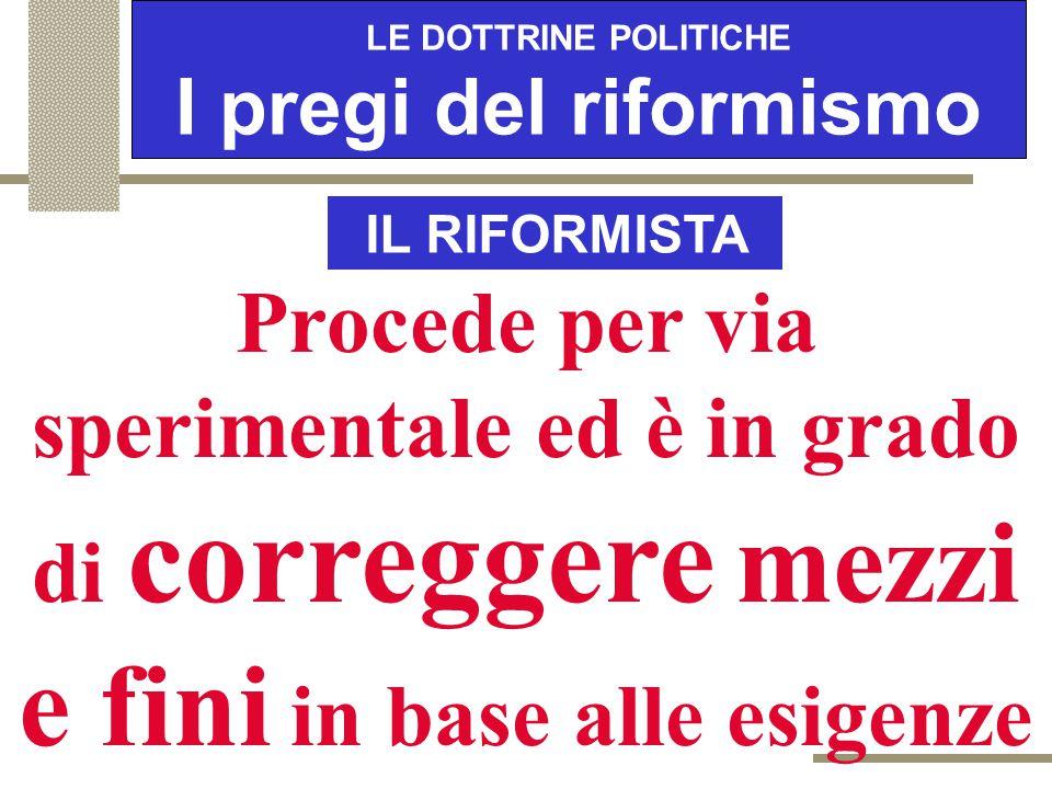 """LE DOTTRINE POLITICHE I pregi del riformismo IL RIFORMISTA Evita di promettere """"paradisi"""" che, alla prova dei fatti, si rivelano degli """"inferni"""""""