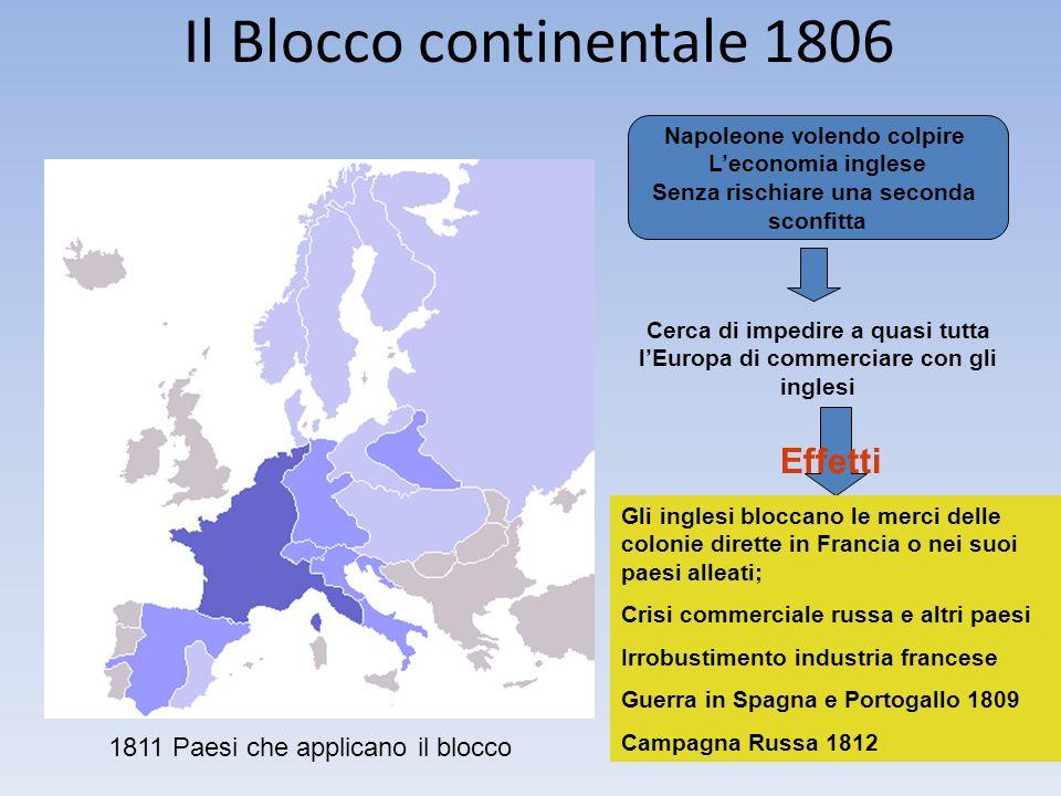 Il Blocco continentale 1806 1811 Paesi che applicano il blocco Napoleone volendo colpire L'economia inglese Senza rischiare una seconda sconfitta Cerc