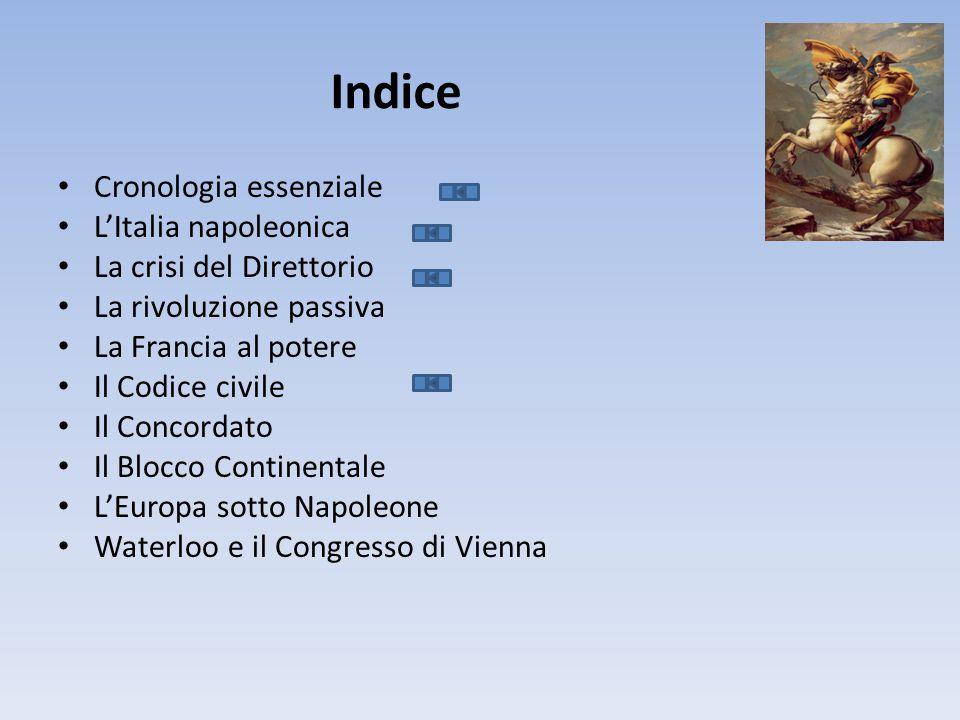 Indice Cronologia essenziale L'Italia napoleonica La crisi del Direttorio La rivoluzione passiva La Francia al potere Il Codice civile Il Concordato Il Blocco Continentale L'Europa sotto Napoleone Waterloo e il Congresso di Vienna