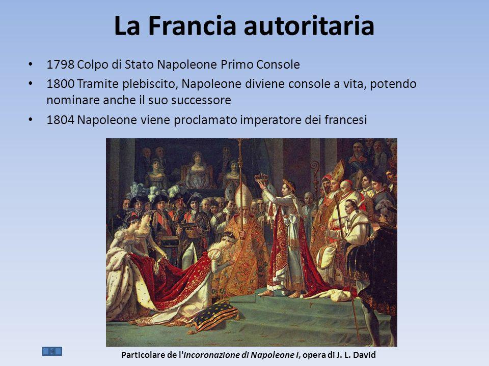 La Francia autoritaria 1798 Colpo di Stato Napoleone Primo Console 1800 Tramite plebiscito, Napoleone diviene console a vita, potendo nominare anche il suo successore 1804 Napoleone viene proclamato imperatore dei francesi Particolare de l Incoronazione di Napoleone I, opera di J.