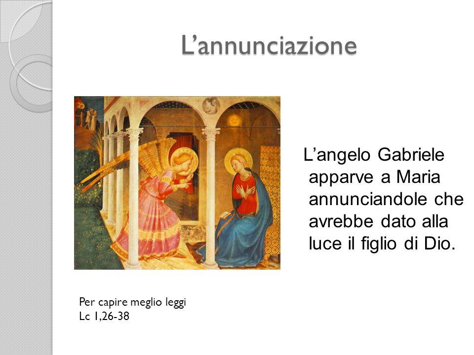 L'annunciazione L'angelo Gabriele apparve a Maria annunciandole che avrebbe dato alla luce il figlio di Dio. Per capire meglio leggi Lc 1,26-38