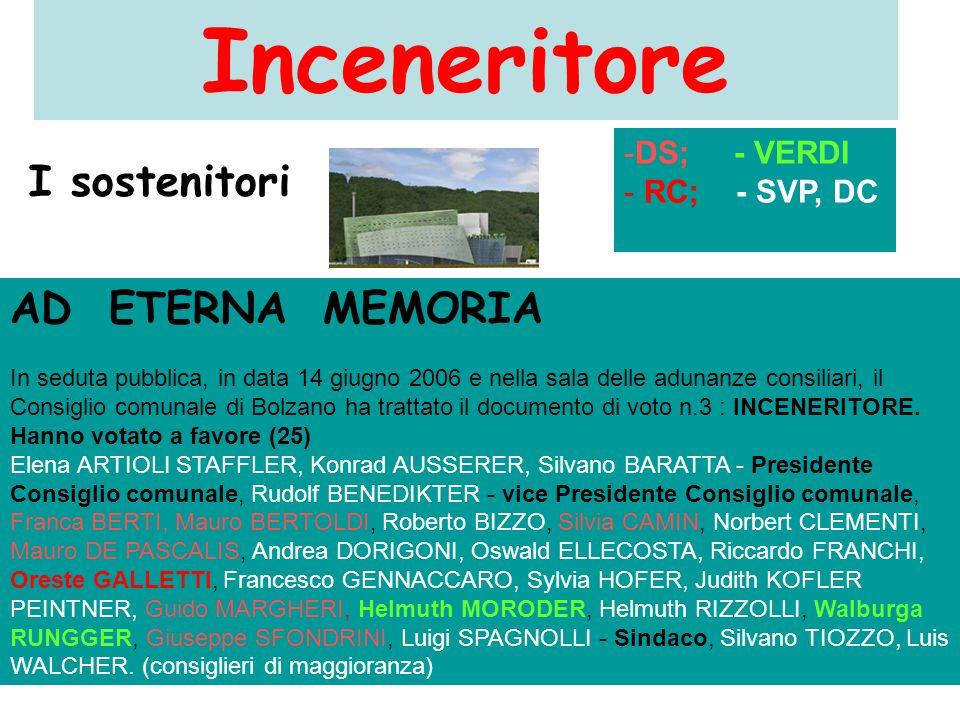 Inceneritore AD ETERNA MEMORIA In seduta pubblica, in data 14 giugno 2006 e nella sala delle adunanze consiliari, il Consiglio comunale di Bolzano ha trattato il documento di voto n.3 : INCENERITORE.
