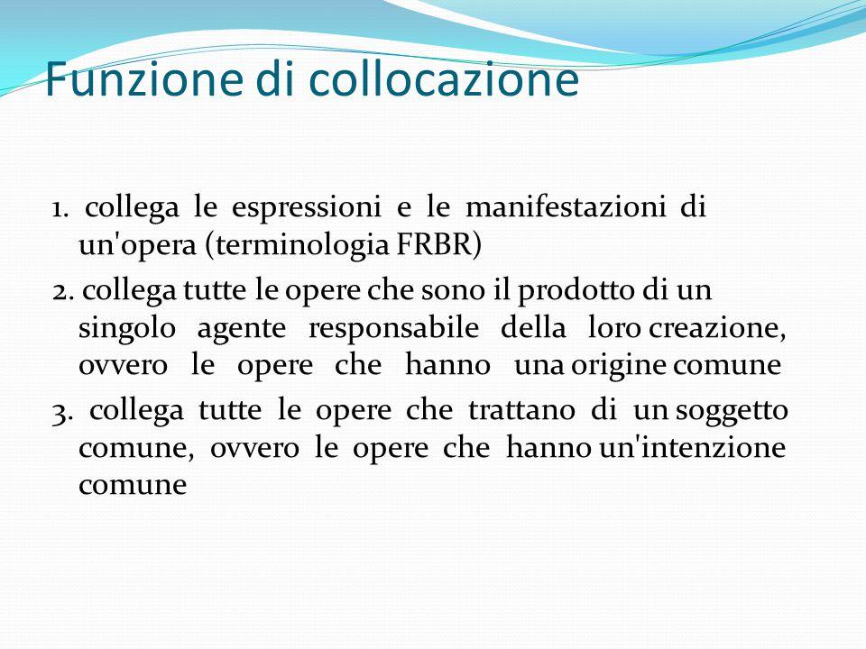 Funzione di collocazione necessita di una forma controllata e strutturata, che sia: 1.