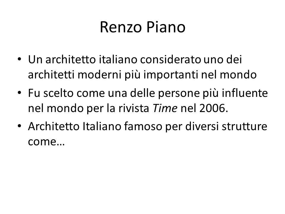 Renzo Piano Un architetto italiano considerato uno dei architetti moderni più importanti nel mondo Fu scelto come una delle persone più influente nel mondo per la rivista Time nel 2006.