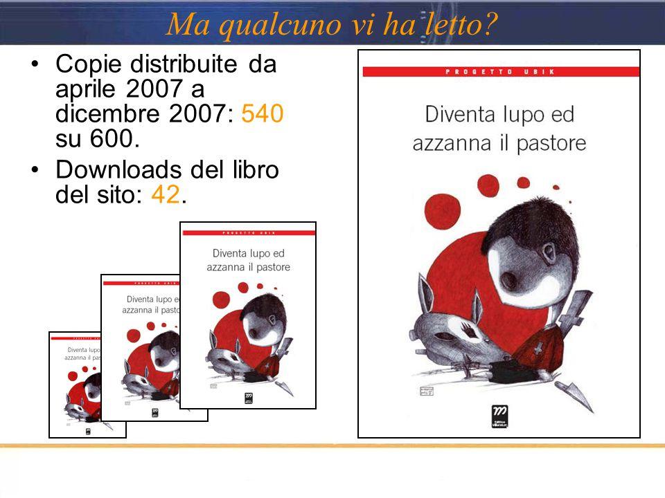 Ma qualcuno vi ha letto? Copie distribuite da aprile 2007 a dicembre 2007: 540 su 600. Downloads del libro del sito: 42.