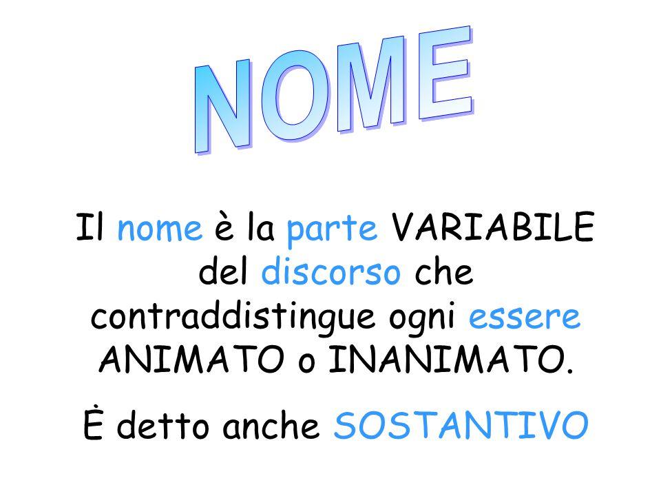 Il nome è la parte VARIABILE del discorso che contraddistingue ogni essere ANIMATO o INANIMATO.