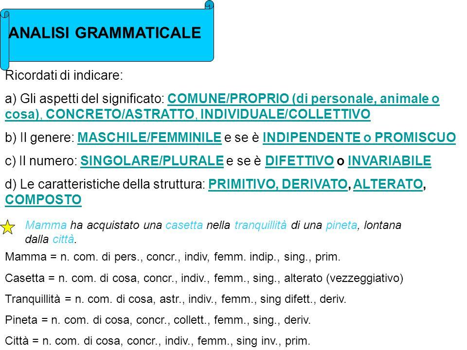 ANALISI GRAMMATICALE Ricordati di indicare: a) Gli aspetti del significato: COMUNE/PROPRIO (di personale, animale o cosa), CONCRETO/ASTRATTO, INDIVIDUALE/COLLETTIVOCOMUNE/PROPRIO (di personale, animale o cosa), CONCRETO/ASTRATTO, INDIVIDUALE/COLLETTIVO b) Il genere: MASCHILE/FEMMINILE e se è INDIPENDENTE o PROMISCUOMASCHILE/FEMMINILEINDIPENDENTE o PROMISCUO c) Il numero: SINGOLARE/PLURALE e se è DIFETTIVO o INVARIABILESINGOLARE/PLURALEDIFETTIVOINVARIABILE d) Le caratteristiche della struttura: PRIMITIVO, DERIVATO, ALTERATO, COMPOSTOPRIMITIVO, DERIVATOALTERATO COMPOSTO Mamma ha acquistato una casetta nella tranquillità di una pineta, lontana dalla città.