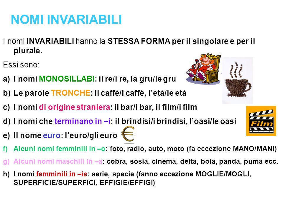 I nomi INVARIABILI hanno la STESSA FORMA per il singolare e per il plurale.