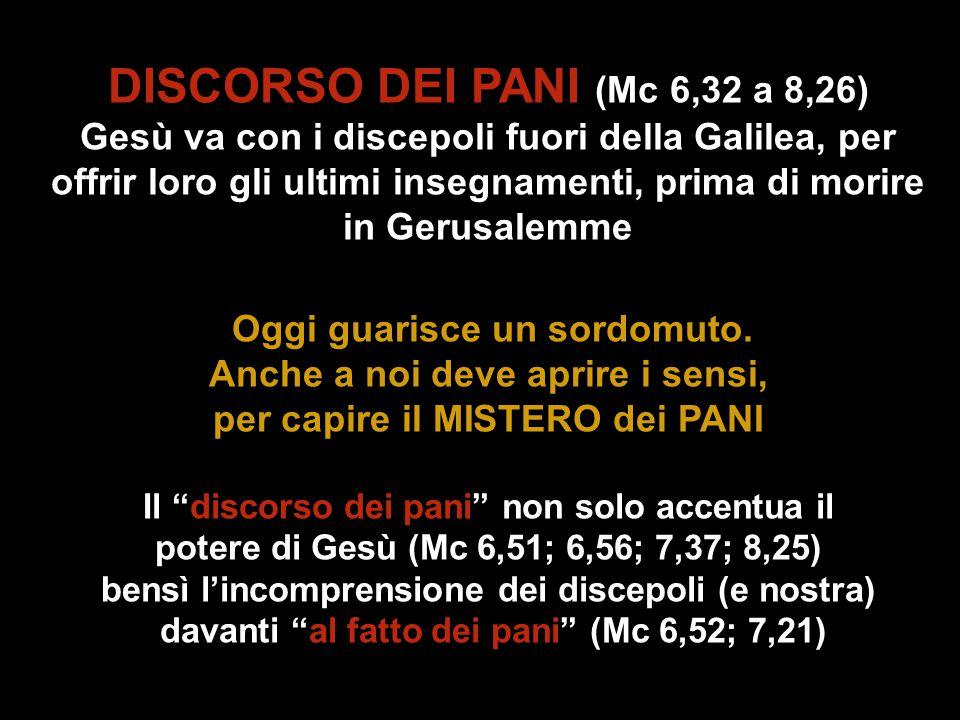 DISCORSO DEI PANI (Mc 6,32 a 8,26) Gesù va con i discepoli fuori della Galilea, per offrir loro gli ultimi insegnamenti, prima di morire in Gerusalemme Oggi guarisce un sordomuto.