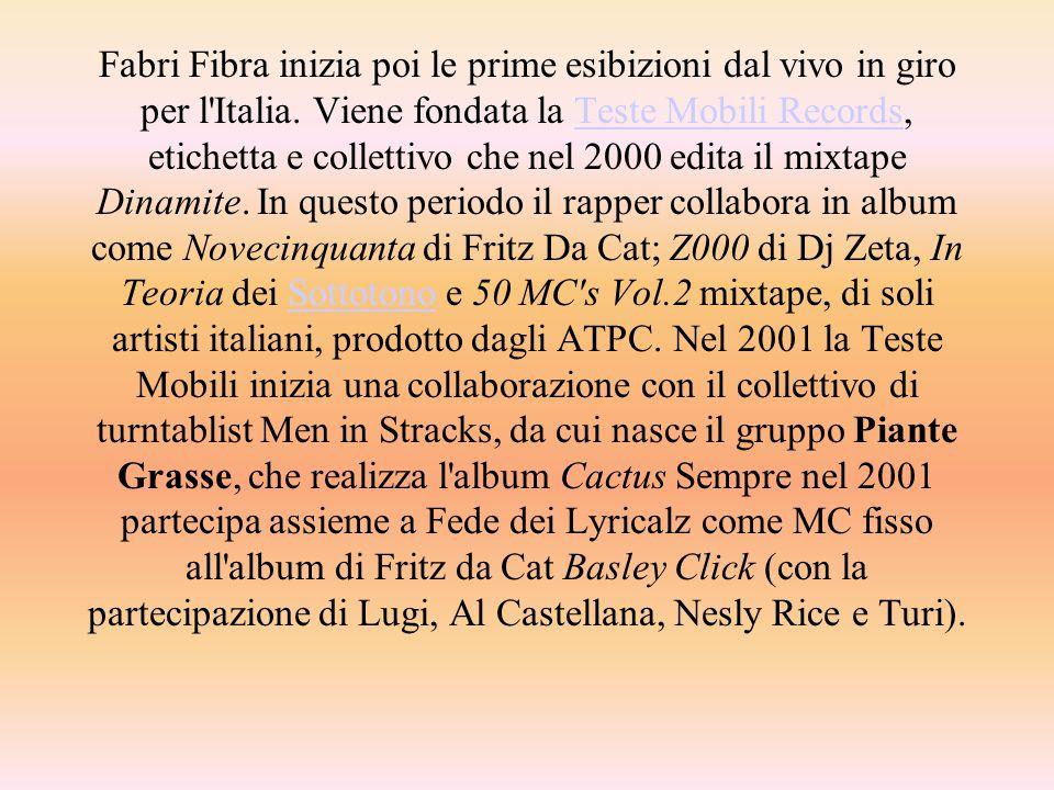 Carriera solista Nel 2002 esce il primo album da solista di Fabri Fibra intitolato Turbe Giovanili, dove scrive le sue rime su musiche prodotte e arrangiate da Neffa.