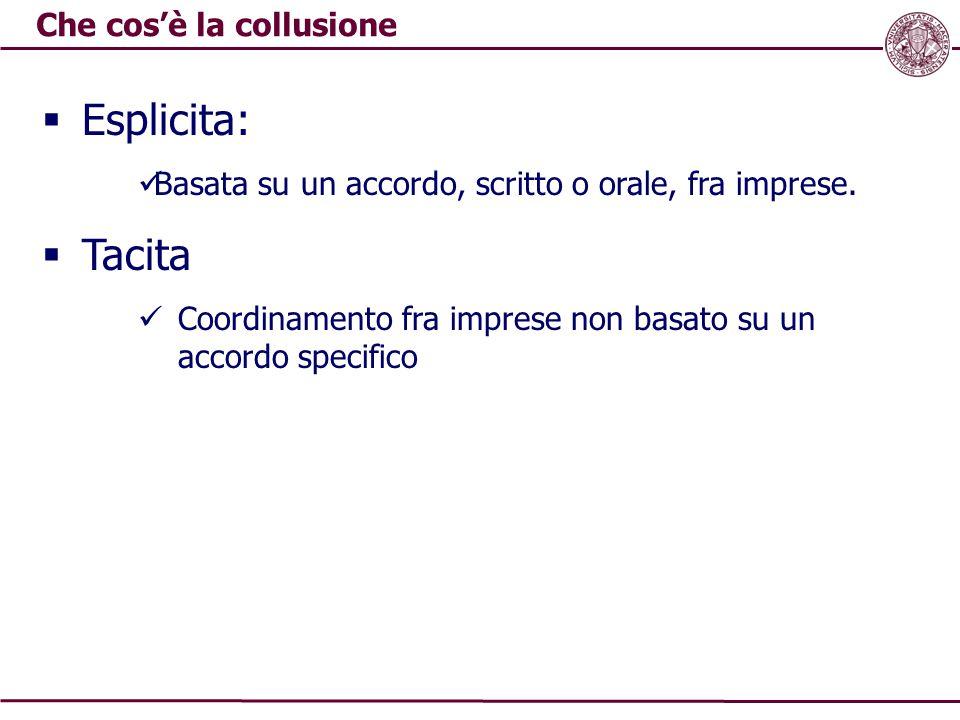 Che cos'è la collusione  Esplicita: Basata su un accordo, scritto o orale, fra imprese.