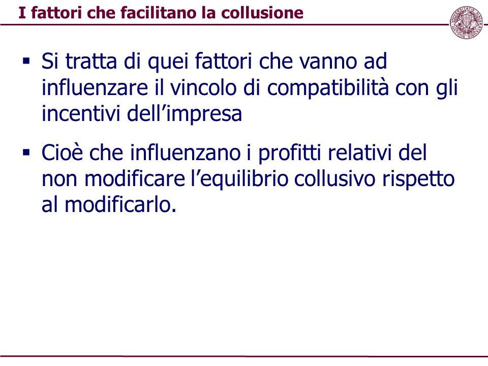 I fattori che facilitano la collusione  Si tratta di quei fattori che vanno ad influenzare il vincolo di compatibilità con gli incentivi dell'impresa  Cioè che influenzano i profitti relativi del non modificare l'equilibrio collusivo rispetto al modificarlo.