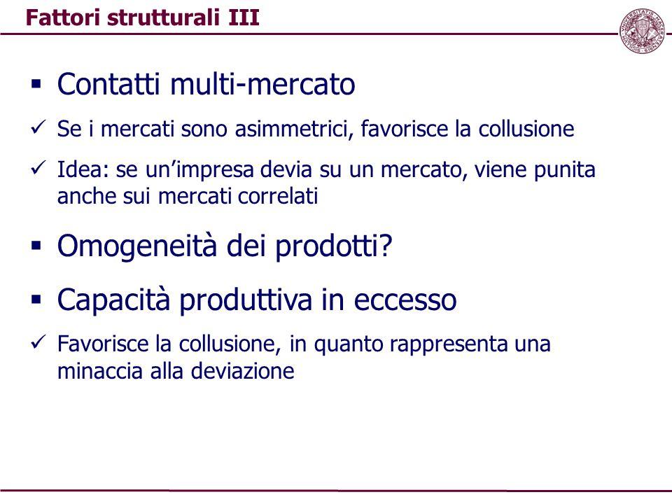 Fattori strutturali III  Contatti multi-mercato Se i mercati sono asimmetrici, favorisce la collusione Idea: se un'impresa devia su un mercato, viene punita anche sui mercati correlati  Omogeneità dei prodotti.