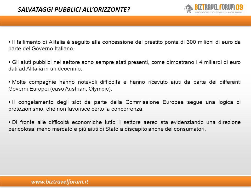 www.biztravelforum.it SALVATAGGI PUBBLICI ALL'ORIZZONTE? Il fallimento di Alitalia è seguito alla concessione del prestito ponte di 300 milioni di eur