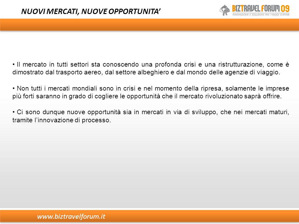 www.biztravelforum.it NUOVI MERCATI, NUOVE OPPORTUNITA' Il mercato in tutti settori sta conoscendo una profonda crisi e una ristrutturazione, come è d