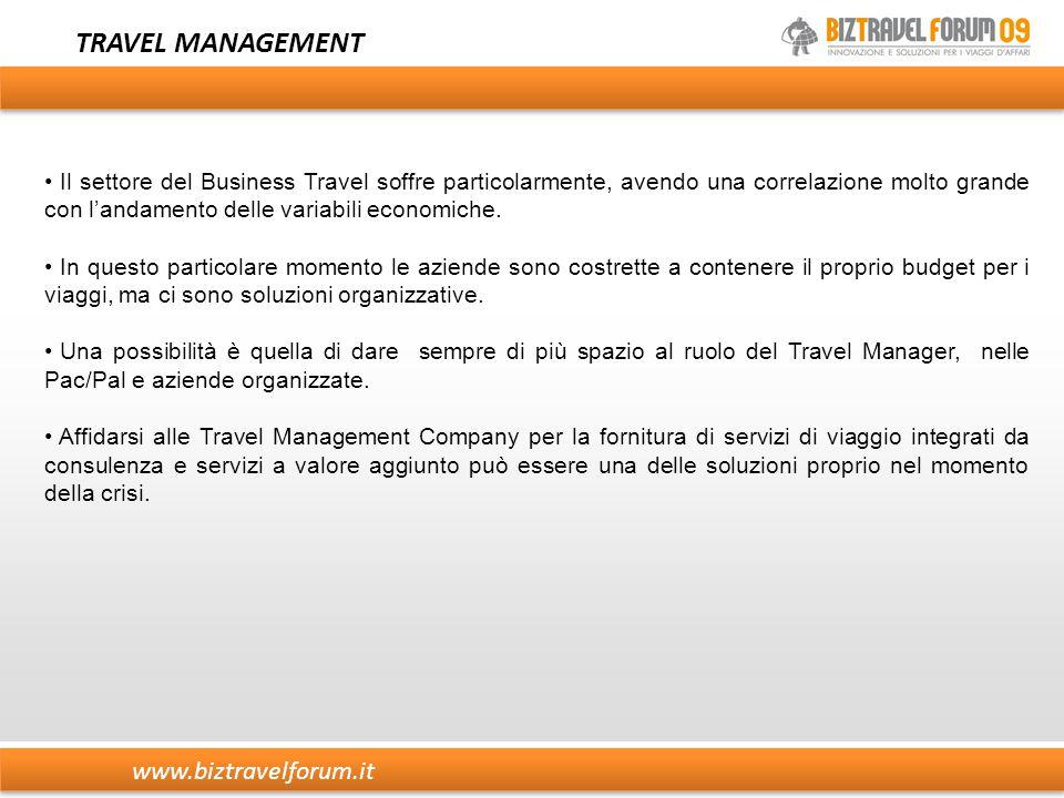 www.biztravelforum.it TRAVEL MANAGEMENT Il settore del Business Travel soffre particolarmente, avendo una correlazione molto grande con l'andamento delle variabili economiche.