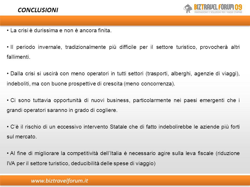www.biztravelforum.it CONCLUSIONI La crisi è durissima e non è ancora finita. Il periodo invernale, tradizionalmente più difficile per il settore turi