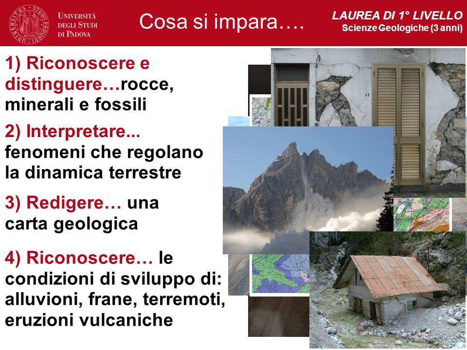 LAUREA DI 1° LIVELLO Scienze Geologiche (3 anni) 1) Riconoscere e distinguere…rocce, minerali e fossili 2) Interpretare... fenomeni che regolano la di