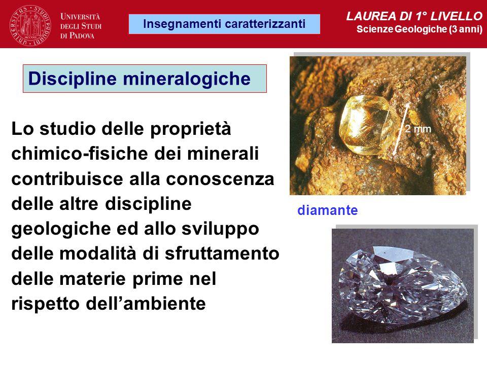 Insegnamenti caratterizzanti LAUREA DI 1° LIVELLO Scienze Geologiche (3 anni) Discipline mineralogiche Lo studio delle proprietà chimico-fisiche dei m