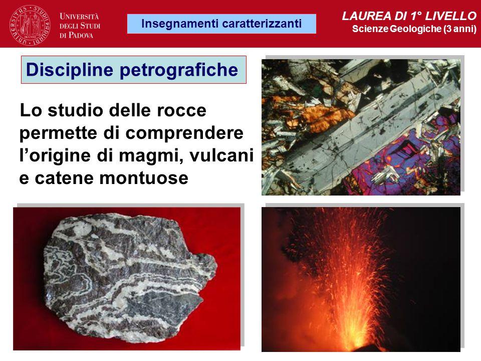 Lo studio delle rocce permette di comprendere l'origine di magmi, vulcani e catene montuose Discipline petrografiche Insegnamenti caratterizzanti LAUR