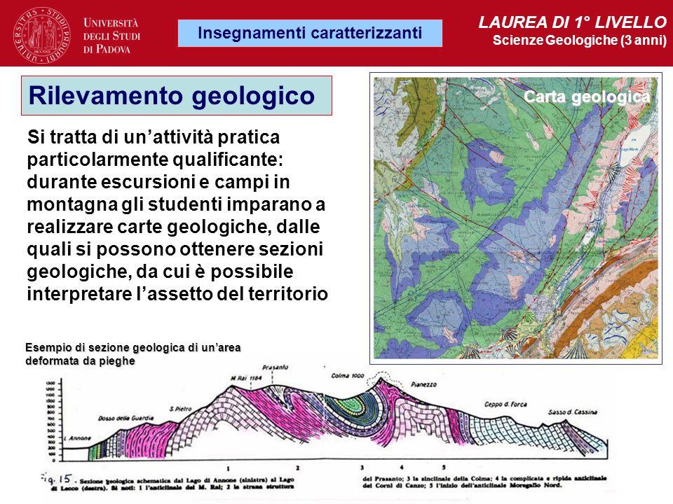 Insegnamenti caratterizzanti LAUREA DI 1° LIVELLO Scienze Geologiche (3 anni) Si tratta di un'attività pratica particolarmente qualificante: durante e