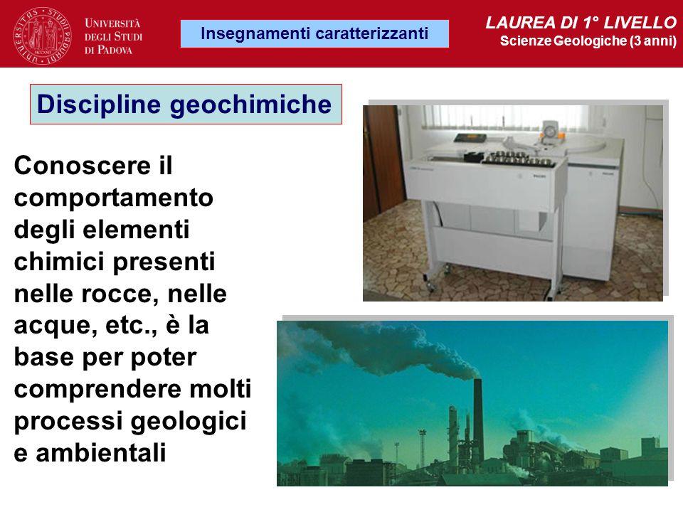 Discipline geochimiche Insegnamenti caratterizzanti LAUREA DI 1° LIVELLO Scienze Geologiche (3 anni) Conoscere il comportamento degli elementi chimici