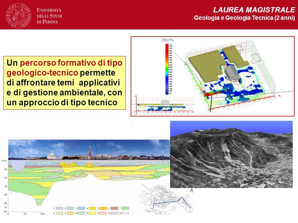Ohm*m LAUREA MAGISTRALE Geologia e Geologia Tecnica (2 anni) Un percorso formativo di tipo geologico-tecnico permette di affrontare temi applicativi e
