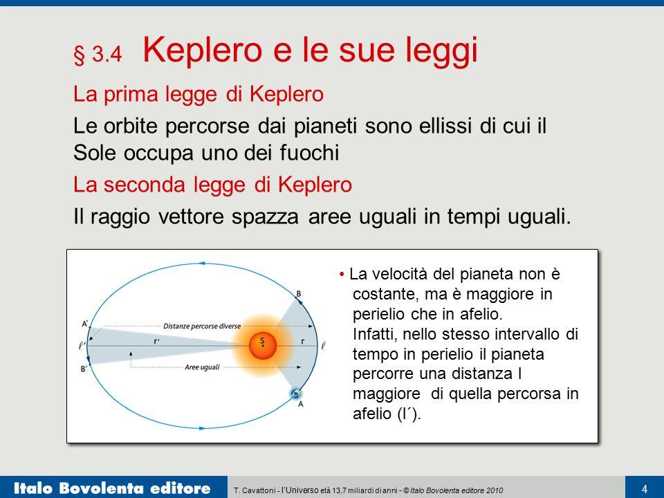 T. Cavattoni - l'Universo età 13,7 miliardi di anni - © Italo Bovolenta editore 2010 4 § 3.4 Keplero e le sue leggi La prima legge di Keplero Le orbit