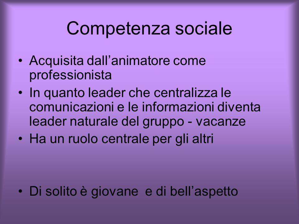 Competenza sociale Acquisita dall'animatore come professionista In quanto leader che centralizza le comunicazioni e le informazioni diventa leader naturale del gruppo - vacanze Ha un ruolo centrale per gli altri Di solito è giovane e di bell'aspetto