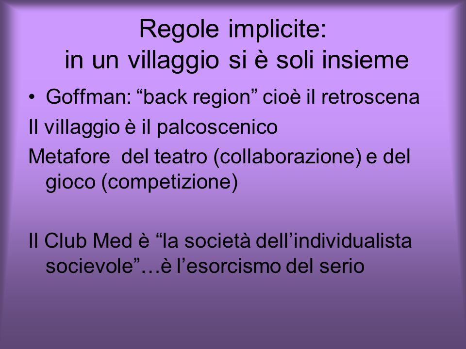 Regole implicite: in un villaggio si è soli insieme Goffman: back region cioè il retroscena Il villaggio è il palcoscenico Metafore del teatro (collaborazione) e del gioco (competizione) Il Club Med è la società dell'individualista socievole …è l'esorcismo del serio