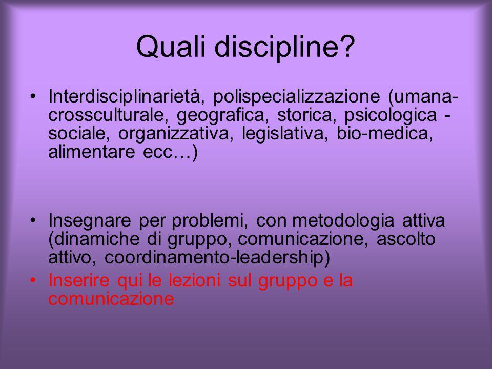 Quali discipline.