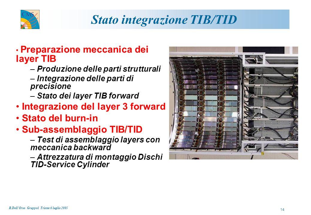 R.Dell'Orso Gruppo1 Trieste 6 luglio 2005 15  Integrazione componenti di precisione F.Palmonari (phys), F.Palmonari (phys), G.Petragnani (tech), A.Serban (tech), A.Cucoanes (tech)  Integrazione moduli Pisa 1 G.Sguazzoni (phys), G.Sguazzoni (phys), J.Bernardini (phys), L.Borrello (phys), B.Mangano (phys)  Integrazione moduli Pisa 2 R.Dell'Orso (phys), R.Dell'Orso (phys), G.Segneri (phys), L.Benucci (phys), P.Mammini (tech)  Integrazione moduli Firenze C.Civinini (phys), C.Civinini (phys), C.Genta (phys), C.Marchettini (phys), S.Mersi (phys), M.Brianzi (tech), M.Meschini (phys), R.Ranieri (phys)  Integrazione moduli Torino N.De Maria (phys), N.De Maria (phys), R.Bellan (phys), D.Gerbaudo (phys), F.Benotto (tech), F.Brasolin (tech)  Burn-in team F.Palla (phys), F.Palla (phys), M.R.D'Alfonso (phys), M.Vos (phys), C.Cerri (phys), A.Balestri (tech)  DAQ per integrazione e burn-in T.Boccali (phys), T.Boccali (phys), S.Dutta (phys), A.Rizzi (phys), A.Giassi (phys)  Assembly/Installation team F.Palmonari (phys)/T.Lomtadze (phys), F.Palmonari (phys)/T.Lomtadze (phys), F.Raffaelli (eng.), G.Petragnani (tech), F.Mariani (tech), L.Beretta (tech), D.Rizzi (tech), C.Magazzu' (tech), L.Zaccarelli (tech) Squadre di integrazione TIB/TID