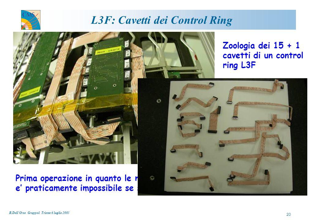 R.Dell'Orso Gruppo1 Trieste 6 luglio 2005 20 L3F: Cavetti dei Control Ring Prima operazione in quanto le misure devono essere prese in loco, cio' e' praticamente impossibile se sono gia' presenti i moduli… Zoologia dei 15 + 1 cavetti di un control ring L3F