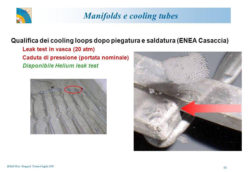 R.Dell'Orso Gruppo1 Trieste 6 luglio 2005 45 Manifolds e cooling tubes Qualifica dei cooling loops dopo piegatura e saldatura (ENEA Casaccia) Leak test in vasca (20 atm) Caduta di pressione (portata nominale) Disponibile Helium leak test