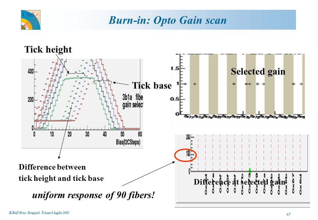 R.Dell'Orso Gruppo1 Trieste 6 luglio 2005 47 Burn-in: Opto Gain scan Selected gain Tick height Tick base Difference between tick height and tick base Difference at selected gain uniform response of 90 fibers!