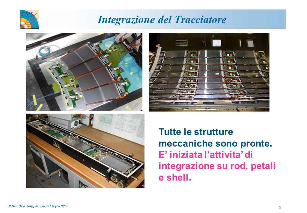 R.Dell'Orso Gruppo1 Trieste 6 luglio 2005 7 Integrazione TOB E' iniziata l'integrazione dei moduli nelle rod in USA (UCSB, FNAL); rate stimato di 8 rod/giorno: consegna di 60 rod prevista entro luglio (+90 entro meta' settembre per completare il Layer 6)  Nelle prime rod sono emersi errori di comunicazione I2C Problema studiato e capito: 1) modifica di una resistenza nelle rod prodotte 2) produzione di una nuova scheda ICC (e successiva sostituzione)
