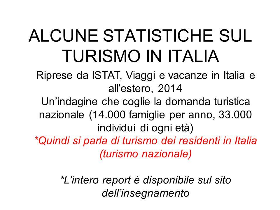 ALCUNE STATISTICHE SUL TURISMO IN ITALIA Riprese da ISTAT, Viaggi e vacanze in Italia e all'estero, 2014 Un'indagine che coglie la domanda turistica nazionale (14.000 famiglie per anno, 33.000 individui di ogni età) *Quindi si parla di turismo dei residenti in Italia (turismo nazionale) *L'intero report è disponibile sul sito dell'insegnamento