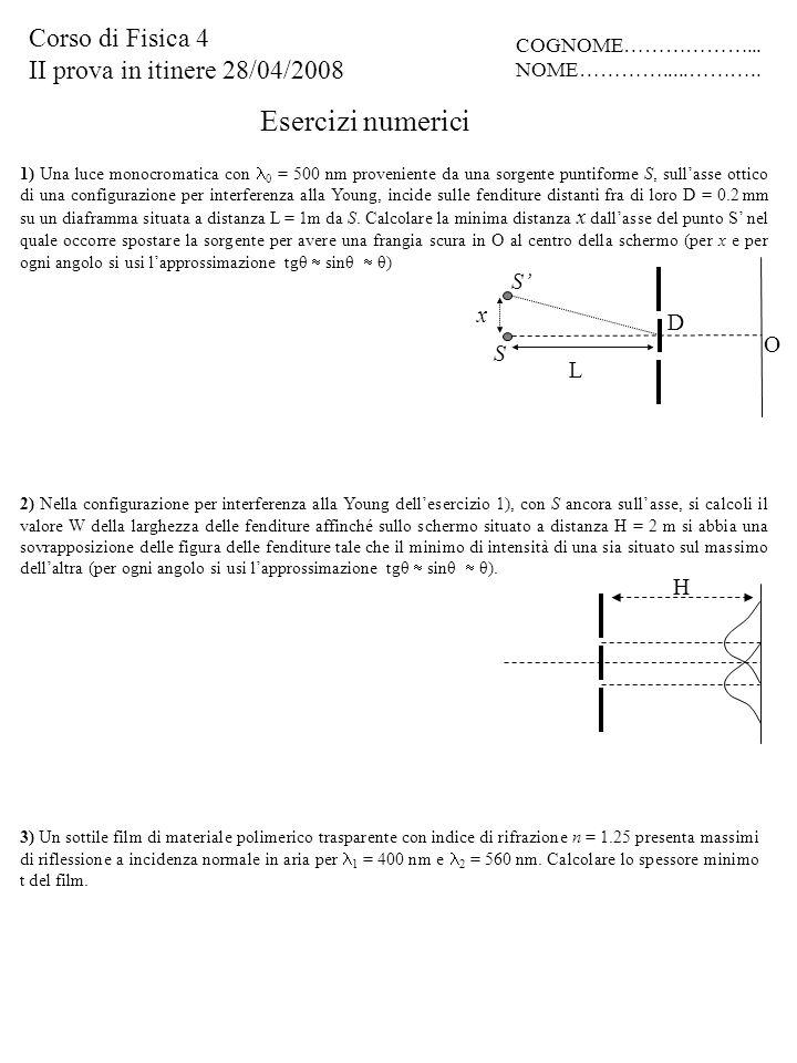 Esercizi numerici 3) Un sottile film di materiale polimerico trasparente con indice di rifrazione n = 1.25 presenta massimi di riflessione a incidenza